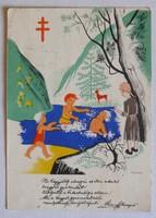 """A Tuberkulózis Elleni Országos Szövetség """"TEOSZ"""" levelezőlapja, Posner (Bp.) kiadása, 1940 körül"""