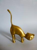 Tömör sárgaréz art deco macska,cica