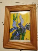 Virágcsendélet nőszirom írisz akvarell vízfestmény