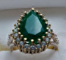 Valódi smaragd köves ezüst és bronz gyűrű