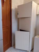 3 ajtós magas valódi fából készült retró fehér  szekrény
