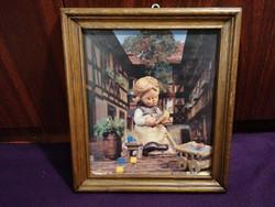Hummel Goebel nyomat, fa keretben, kerettel 24,5 x 27,5 cm, jó állapotú