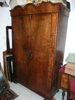 Különleges, 4 polcos , antik, intarziás szecessziós szekrény