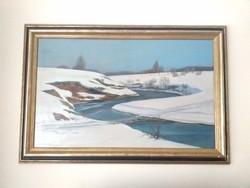 Mácsai István - Téli táj 1977 (50x80cm) EREDETI
