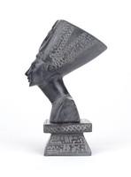 0Y434 Egyiptomi fekete márvány fáraó fej dísztárgy