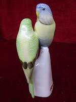Hollóházi porcelán figurális szobor, papagáj  pár. 17 cm magas.