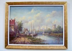 Galériás ár: 268.000.- Fehérvári Zoltán KERETEZVE 60x80cm Flamand város a folyóparton