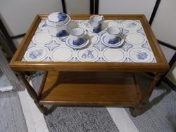 Echt Keramik Grünstadt fajansz tetejű zsúrkocsi, asztal 1950-ből