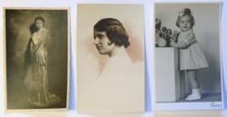 Három családi fotó: hölgy estélyiben, műtermi női portré és gyermekfotó: kislány játékokkal, 1935-38