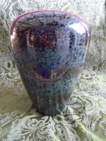 Vallauris, French Art Deco Iridescent Ceramic Vase, Signed, 1950 Years eozin France limit edition