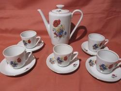 Kahla pipacsos kávés készlet , csésze, kiöntő