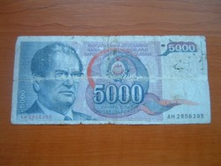 JUGOSZLÁVIA 5000 DINÁR 1985 J.B.TITO AH