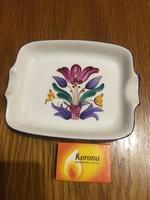 Porcelán jelzett - virágos kis kínáló tányér tál - hamutál - tulipán