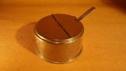 Retro presszó kellék, kávé tartó/tároló/adagoló doboz és kanál