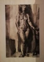 Extra kvalitású, nagy méretű szénrajzok a 70-es évekből! Akt, és portré ábrázolás. 90x70cm!