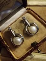 Ezüst modern valódi gyöngyös köves fülbevaló ag925