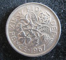 Egyesült Királyság,  6 pence , 1967  VF