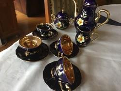 Halbach Geschenke kobalt porcelán kávés, 4 személyes