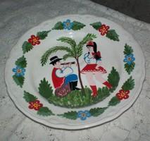 Kispest, KCSGY, GRÁNIT ritka festett falitányér, gyöngyös fali tányér