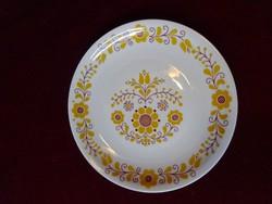 Alföldi porcelán sárga mintás dísztányér, 19 cm átmérővel.