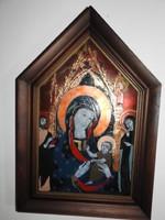 Somogyi Gábor :  Szűz Mária a Kisjézussal - tűzzománc falikép