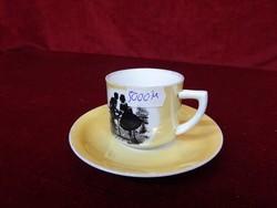 Antik Altwien német egyedi porcelán kávéscsésze +alátét, Vitrin minőség. 7234 számjelzésű.