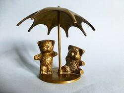 Tömör sárgaréz  szobor,esernyős macik