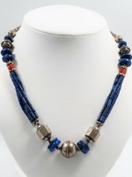 Lapis Lazuli és korall ezüst collier
