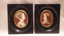 Biedermeier miniatűr porcelán festmény pár