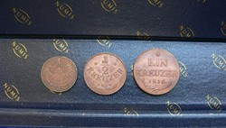 EXTRA SZÉP FERENC RÉZKRAJCÁR SOR - 1816 B - 1/4 - 1/2 - 1 krajcár / kreuzer
