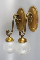 Antik nehéz bronz  falikar lámpák párban