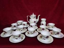Walbrzych mázas  lengyel porcelán teáskészlet 25 darabos, rózsa mintás.