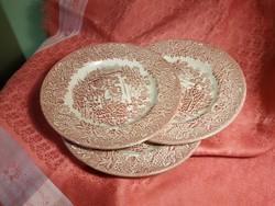 3db. jelenetes, angol, porcelán sütis tányér