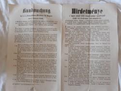 1858 évi Hirdetmény a dohány árának felemeléséről