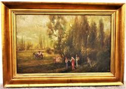 Bálint Árpád (1870 - ?) Táncoló , zenélő nimfák c olajfestménye 78x55cm EREDETI GARANCIÁVAL !!