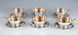 Ezüst gyöngydekoros art deco teáskészlet 