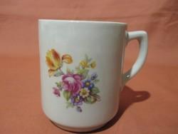 Drasche bögre tulipános csokorral, csésze