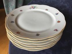 6 db KPM lapos tányér, 23,5 cm-es, apró virágos