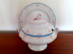 Antik Dallwitz porcelán leveses tál kínáló tányér