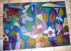 Cs. Németh Miklós: Szerelmesek virágerdőben, akril-karton, eredeti jelzett