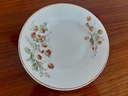 Régi porcelán fali tányér erdei eper mintás népi szamócás falidísz