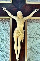 16. Antik, ELEFÁNTCSONT Jézus Krisztus (14cm), 35cm feszület, impozáns, aprólékos, kereszt, korpusz