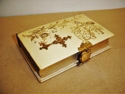 Antik gyöngyházberakásos, rézveretes német nyelvű csatos imakönyv