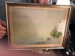 Bernáth Aurél jelzéssel, gyönyörű, 40x30-as, vegyestechnika, festmény.
