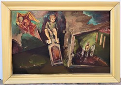 Császár Attila (1951 - 2002) . olajfestménye 80x55cm EREDETI GARANCIÁVAL !!