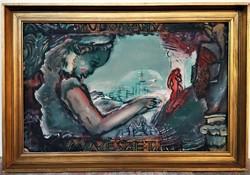 Pataki János (1933 - ) Tudomány-Művészet c. festménye 76x62cm EREDETI GARANCIÁVAL !!