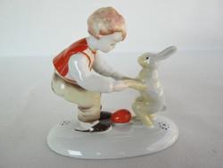 Metzler & Ortloff porcelán kisfiú nyuszival