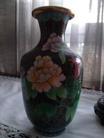 Rekeszzománc festett váza fa talppal