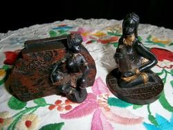 Különleges kerámia névjegykártya tartó és egy asztali dísz afrikai vízhordó nő szoborral