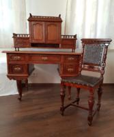 Ónémet, felépítményes, bőrlap betétes, restaurált íróasztal, hozzáillő székkel eladó tulajdonosától